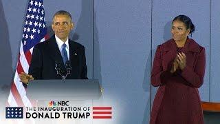 Repeat youtube video Former President Barack Obama's Final Speech Before Departing Joint Base Andrews (Full) | NBC News