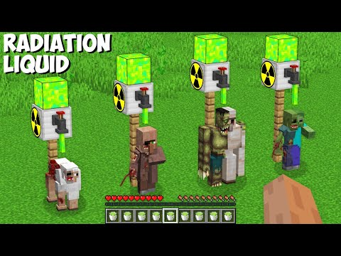 How to TRANSFORM ALL MOBS USING RADIATION LIQUID in Minecraft ? SECRET MUTANT MOBS !