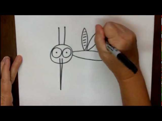 How To Draw A Mosquito Step By Step Beginning Cartoon Drawing Lesson Youtube