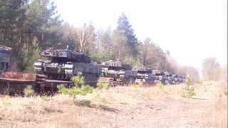 Niemieckie czołgi Leopard 2A6  Niemiecka armia wjeżdża do Żagania Eszelon Niemiecki ST43 i SU46
