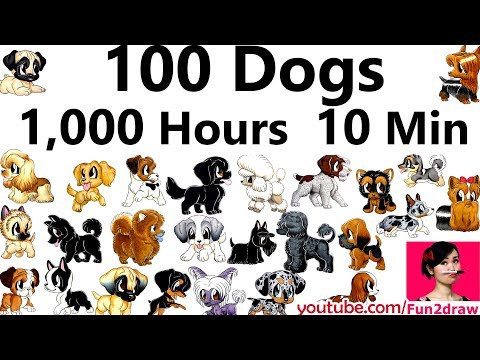 100 Dog Art  - 1,000 Hours - 10 Min | Mei Yu Draws 100 Dogs | New Art Challenge