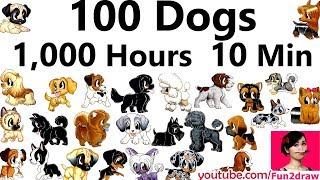 100 Dog Art  - 1,000 Hours - 10 Min | Mei Yu Draws 100 Dogs | New Art Challenge