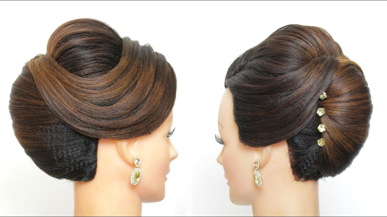 Bridal Hairstyle For Long Hair French Roll Wedding Updo Tutorial