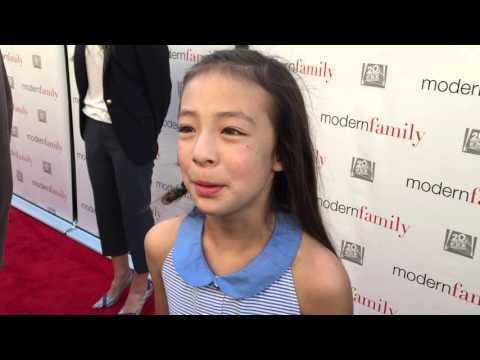 "Aubrey Anderson-Emmons chats on the ""Modern Family"" red carpet for an Emmy voter FYC screening"