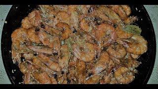 Жареные креветки в соевом соусе с чесноком и специями