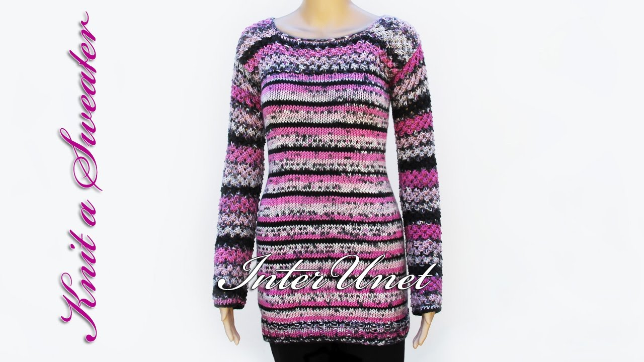 Knit long sweater with sleeves - sweater knitting pattern. Part 1 of ...