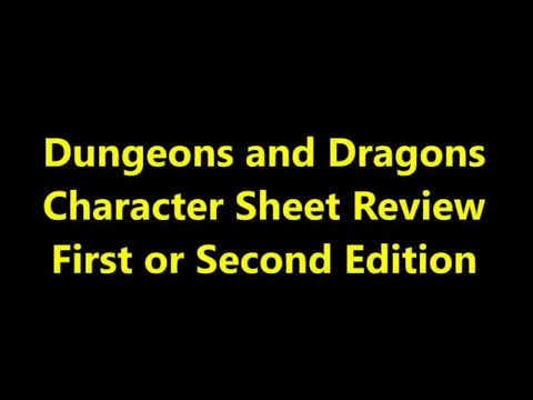 DND Character Sheet Review for Basic, Advanced, First or Second Edition Dungeons and Dragons.
