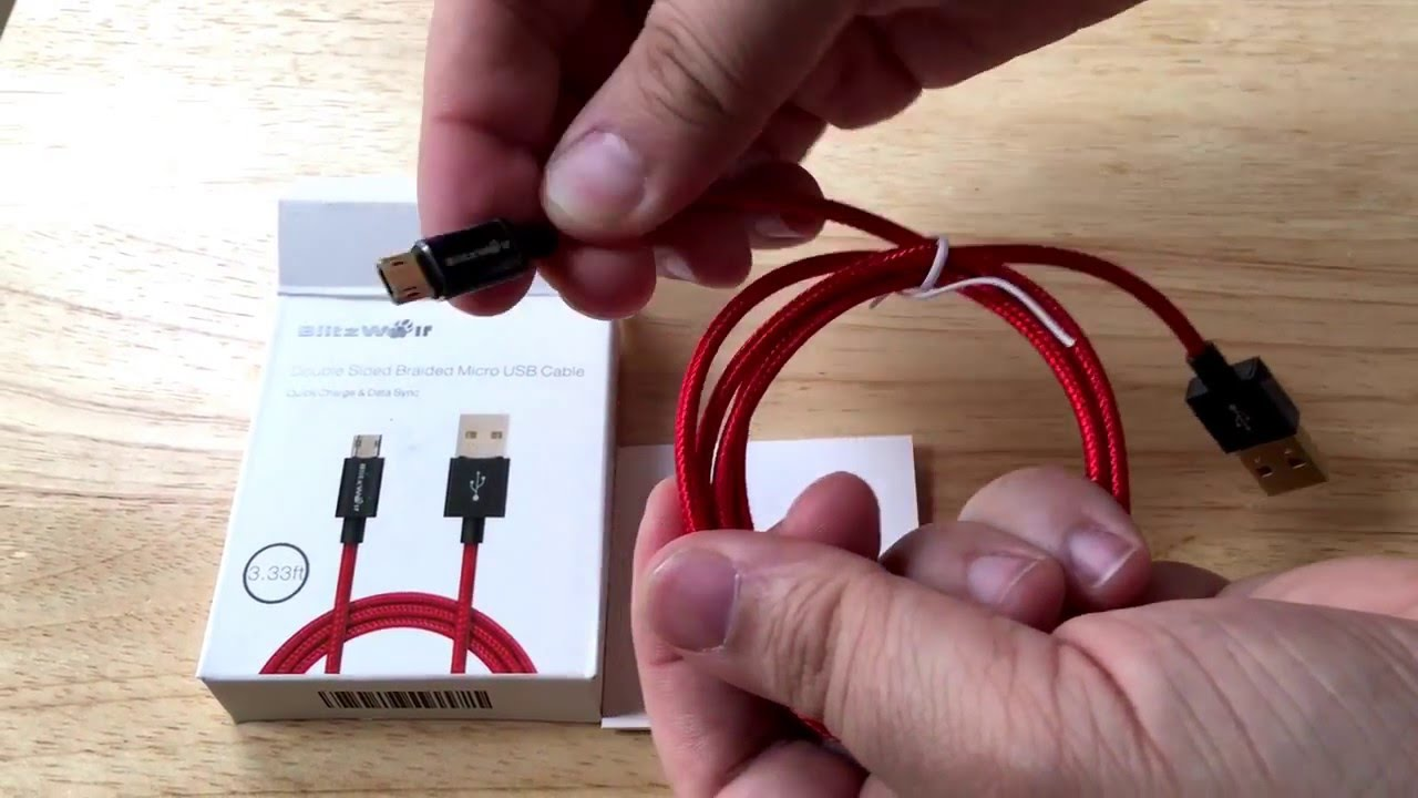 BlitzWolf Double Sided Braided Micro USB Cable Gold Unboxing 5-5-16 ...