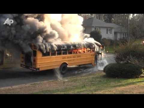 Raw Video: School Bus Burst Into Flames