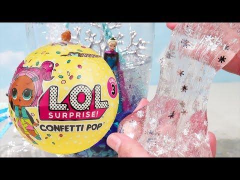 LOL Confetti Pop & Slime Transparente Com Anna e Elsa do Frozen -Brinquedonovelinhas