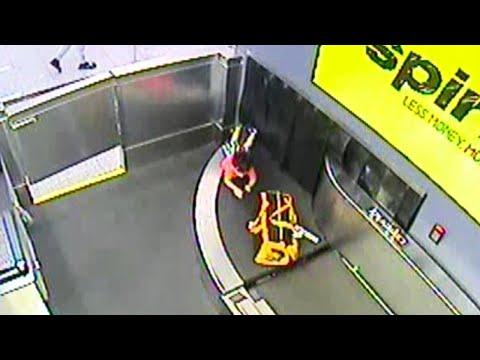 2-Year-Old Rides Airport Baggage Conveyor Belt