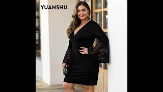 Женское кружевное платье yuanshu черное размера плюс вечерние платья с v образным вырезом высокой