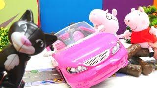 Детские игрушки. Про Пеппу, папу Свина и черную кошку