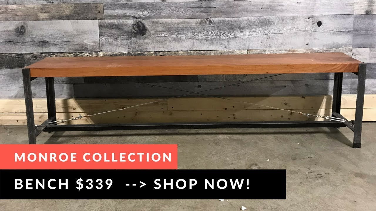 Monroe industrial acacia wood bench close up rustic furniture outlet