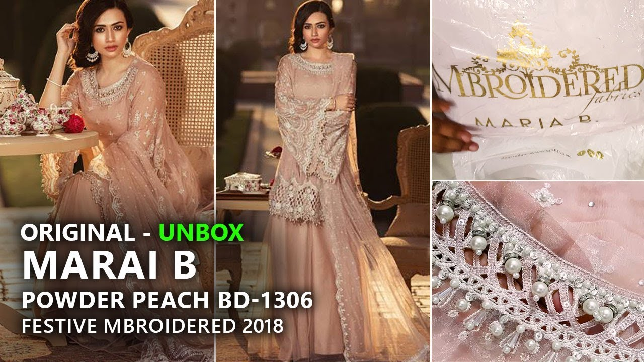 9abbe8f6b5 Maria B Festive Collection 2018 - Unbox Powder Peach BD-1306 - Pakistani  Branded Dresses
