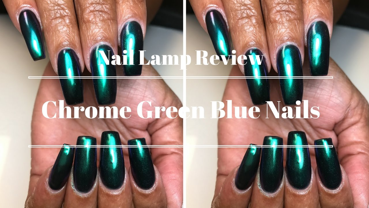 Chrome Green Blue Nails