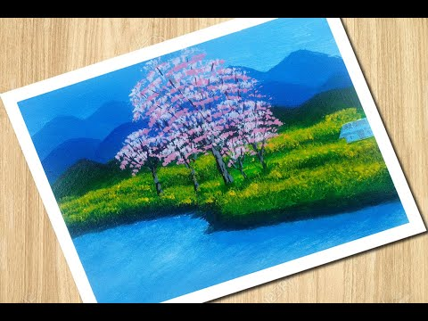 How to drawing Scenery | easy & simple Acrylic painting | Landscape step by step for Beginners