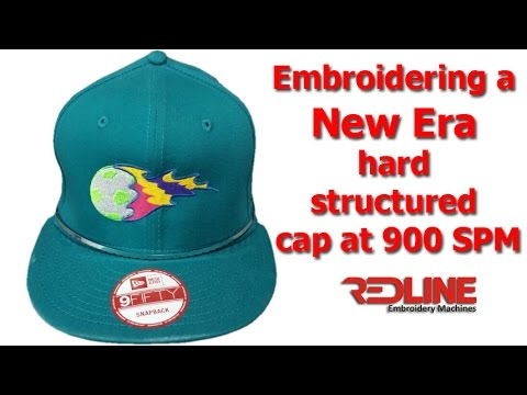 Embroidering a New Era hard structured cap 900 SPM Redline Embroidery  Machine