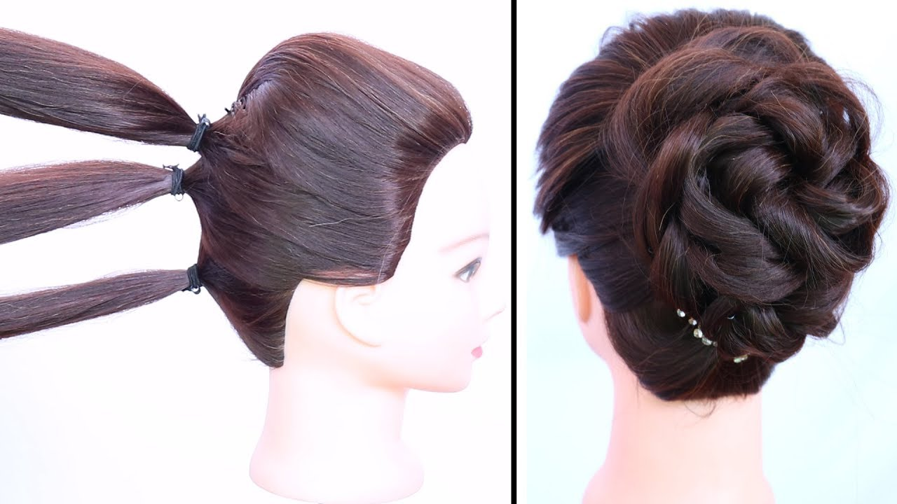 easy messy bun with trick gown