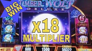 Timber Wolf Deluxe Slot Machine $6 Bet ★ Bonus Win★ 18x MULTILIER 🌟Super Big Win🌟  LIVE SLOT PLAY