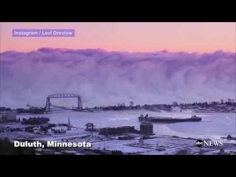 Massive Sea Smoke Wall Forms Over Lake Superior