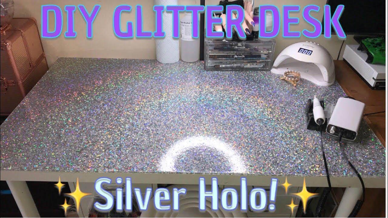 Diy Glitter Table Top Epoxy Resin Holo Youtube