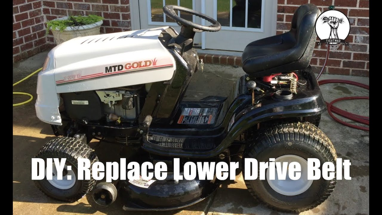 diy how to change the lower drive belt on a mtd gold bolens yard machines or toro riding mower [ 1280 x 720 Pixel ]