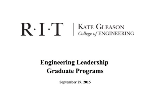 Engineering Leadership An Overview of Programs at RIT
