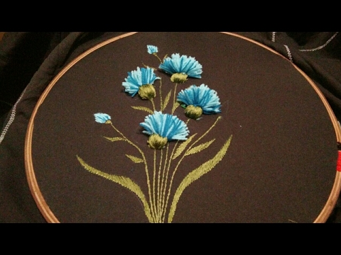 Hand Embroidery With Easy Shaded Tassel Flower And Leaves Youtube
