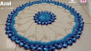 Tapete Redondo de Crochê Azul - Professora Simone