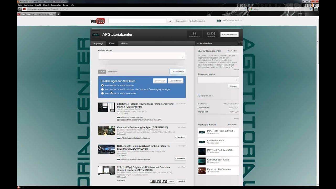 Youtube Feed Einstellendeaktivieren Setdeactivate Feed German