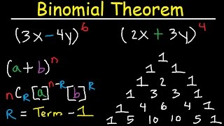 binomial theorem expansion pascals triangle finding terms coefficients combinations algebra 2