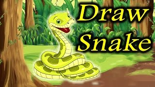 Draw Snake | Art Work | Easy Drawing Steps | By Alf Kids Station