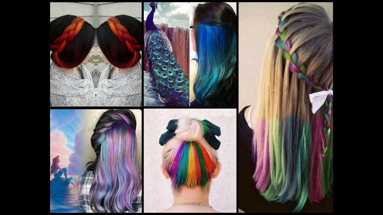 hair color trends - hidden hair color, peekaboo hair color & rainbow hair