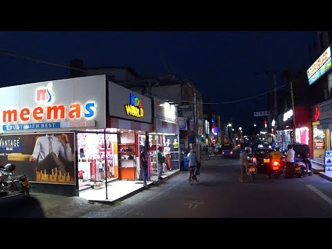 Driving through the streets of Trincomalee in Sri Lanka at night