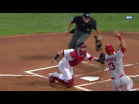 STL@BOS: Bradley Jr. cuts down Carpenter at the plate