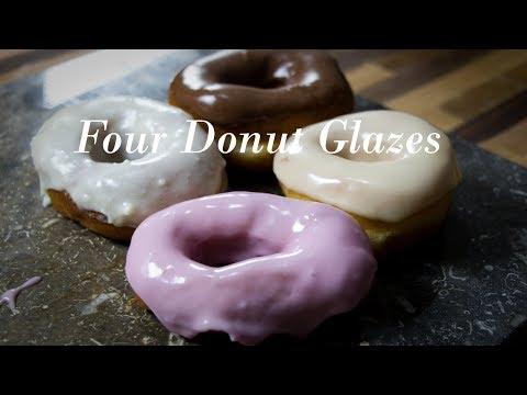 Four Easy Donut Glazes-Chocolate, White Chocolate, Strawberry, Maple-Edesian