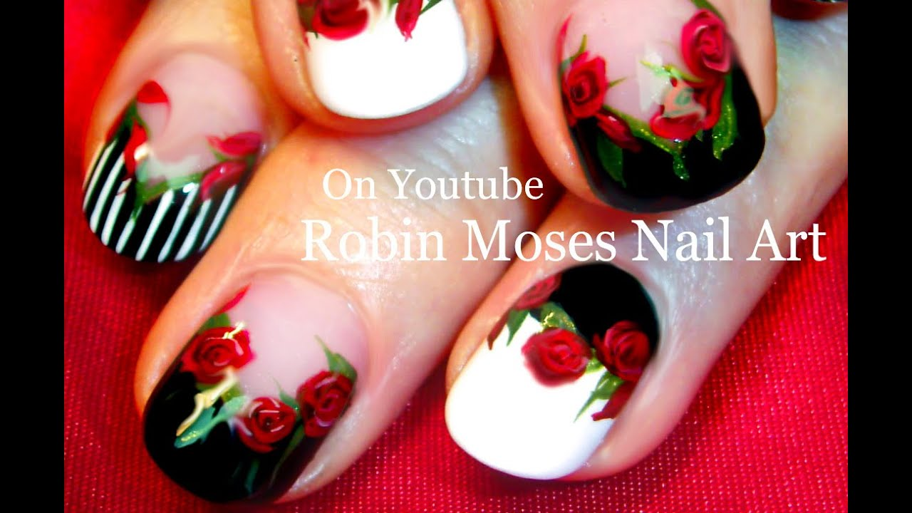 Red Rose Nails | Black and White Nail Art with Roses Design Tutorial ...
