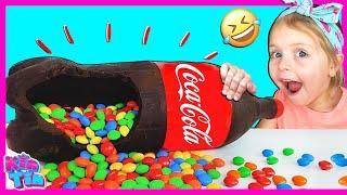 Chocolate Soda and Milkshake Challenge With Kin Tin!!! | Magic Wand Pretend Play!