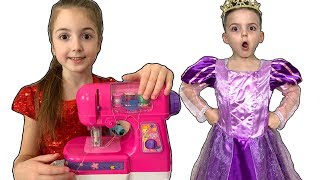 Masha and Vania Play with toy Sewing Machine and dress up
