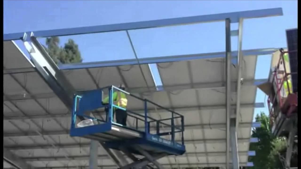 Solar Shade Structures Solar Carport Installation Youtube