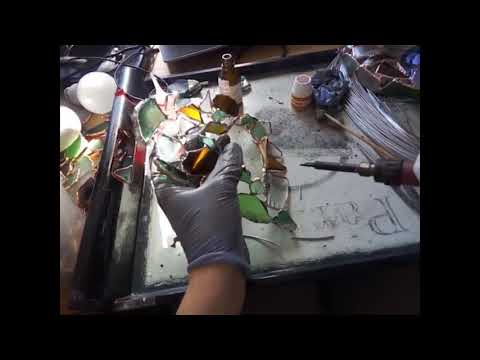 Making of sea stained glass heart suncatcher: all the processes!