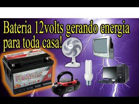 Bateria 12 volts gerando energia para toda casa luz tv - Bateria para casa ...