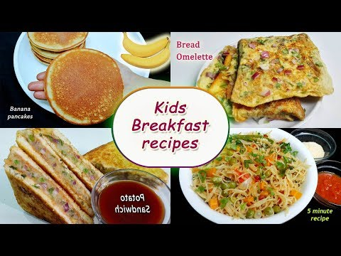 Kids Breakfast Recipes || 4 Instant Breakfast Recipes