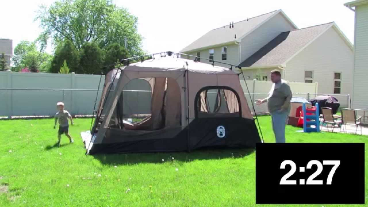 First Time Setting Up 10 X 14 Coleman Instant Tent Youtube