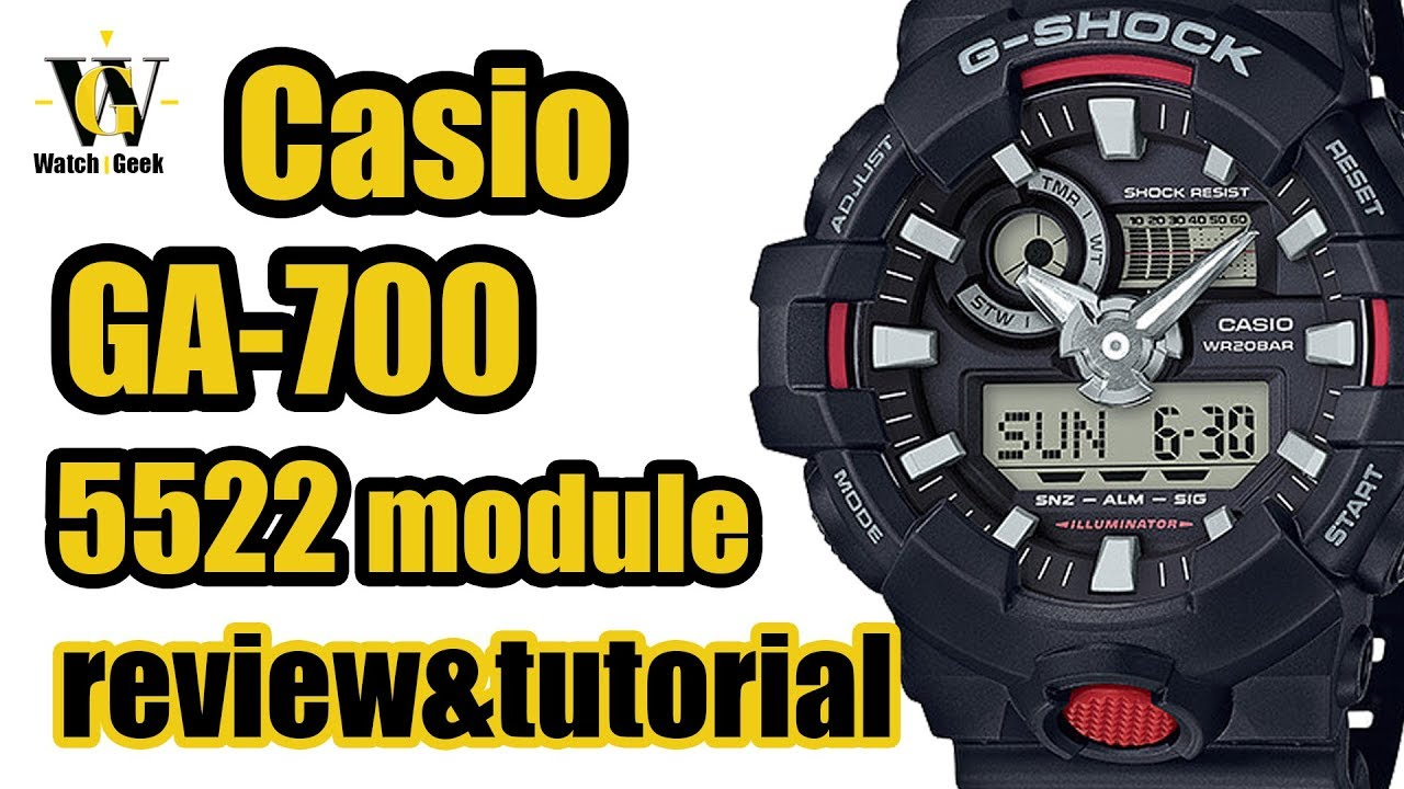 7ea9abae1b6b Casio GA 700 G shock - module 5522 - review   tutorial on how to setup and  use the functions