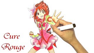 Vẽ tranh Cure rouge Trong Yes PreCure 5 - How to draw Cure rouge