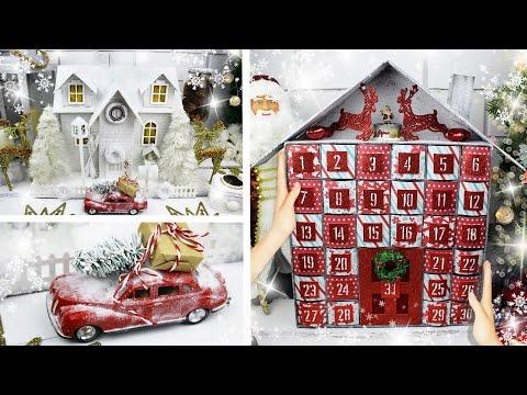 DIY Новогодний АДВЕНТ календарь и шикарный Новогодний ДОМИК из картона своими руками