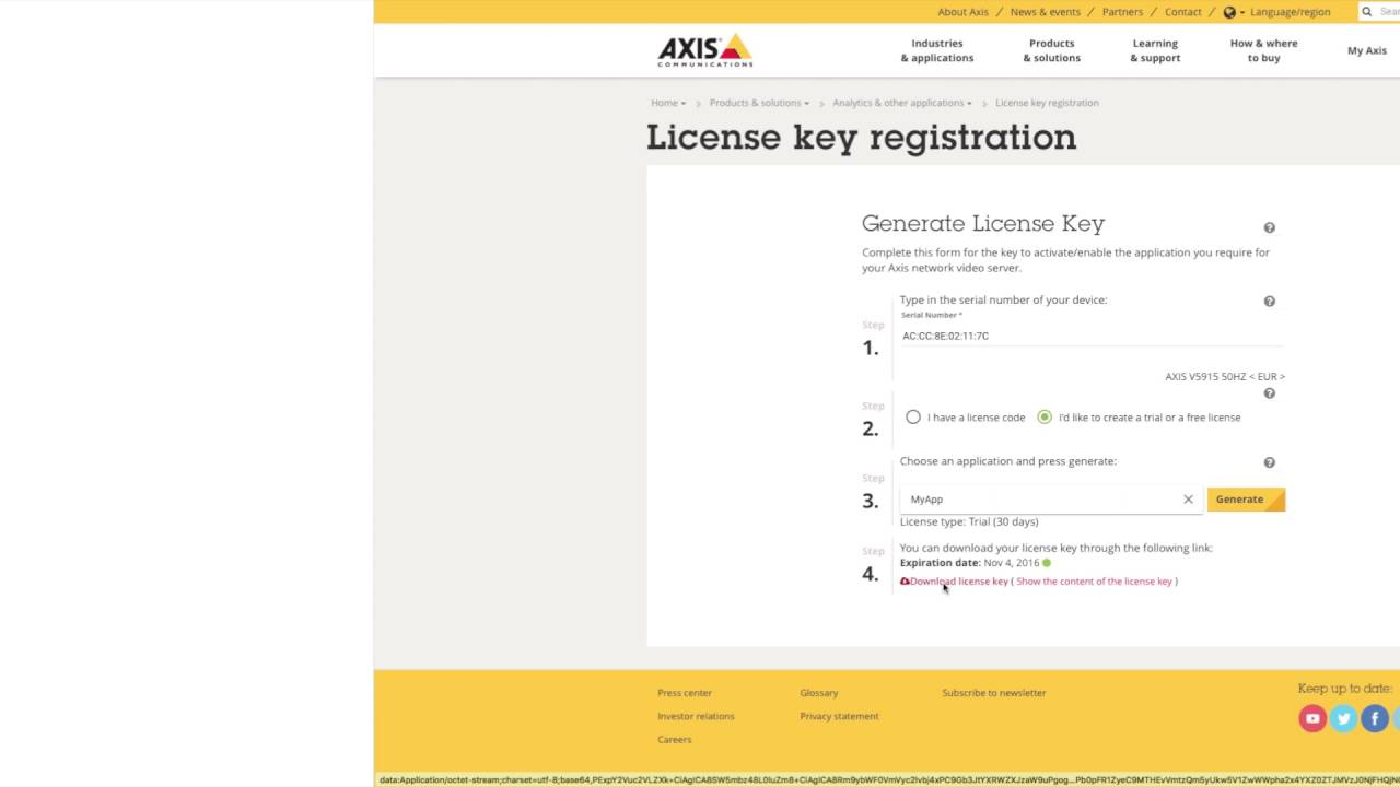 axis camera station free license key
