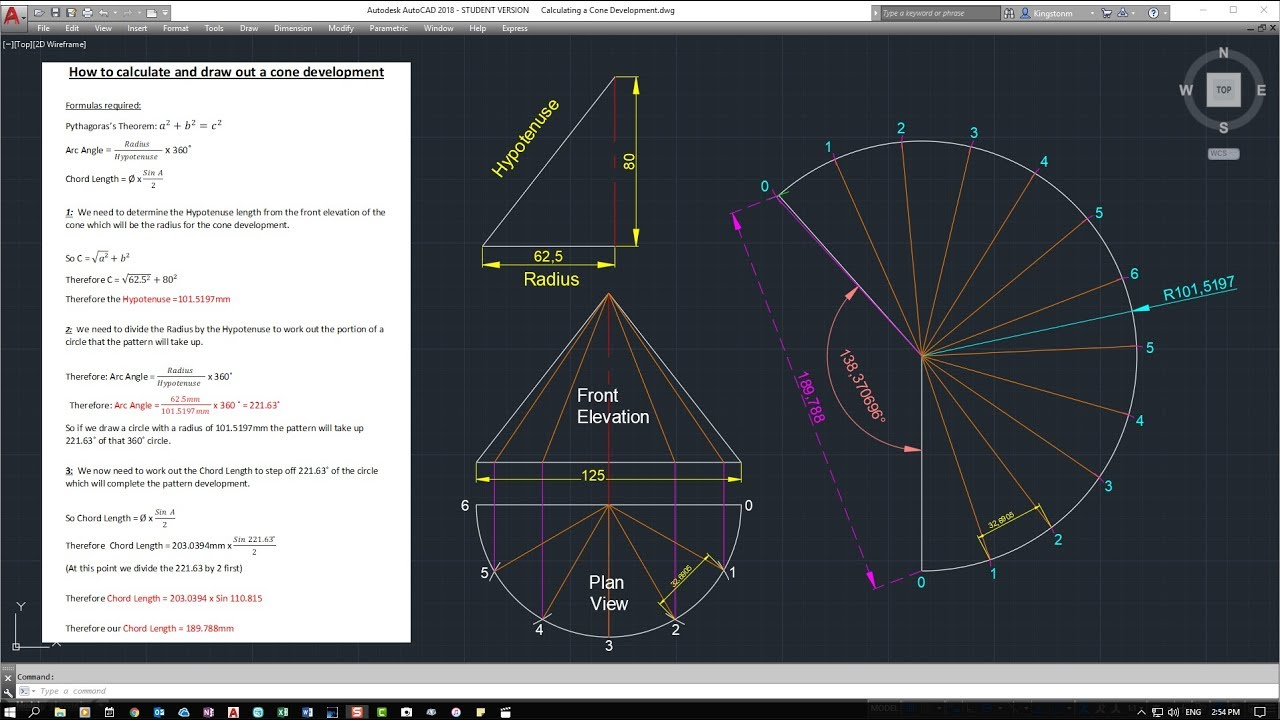 Calculating A Right Cone Pattern Development For